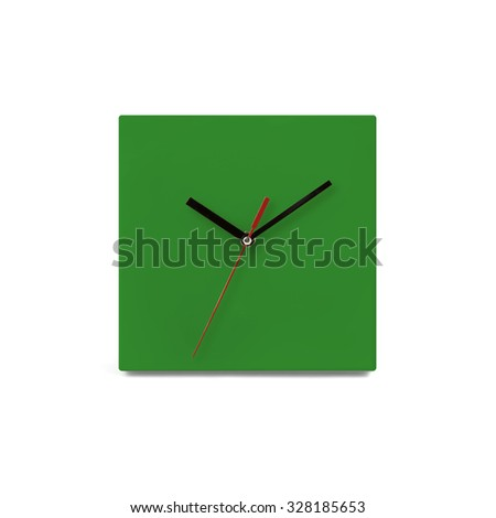 Green simple wall watch - clock isolated on white background - stock photo