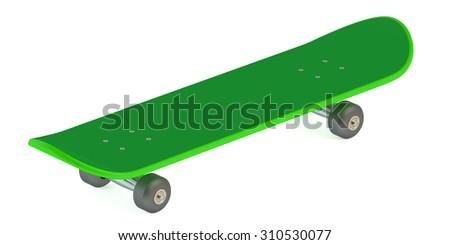 green skateboard isolated on white background - stock photo