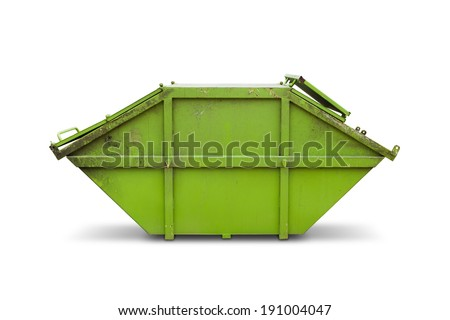 Green skip (dumpster) for municipal waste or industrial waste, isolated on white background with clipping path - stock photo