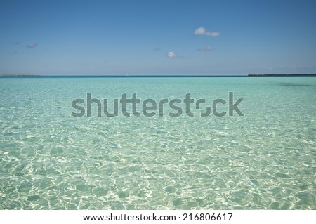 green sky blue water - stock photo