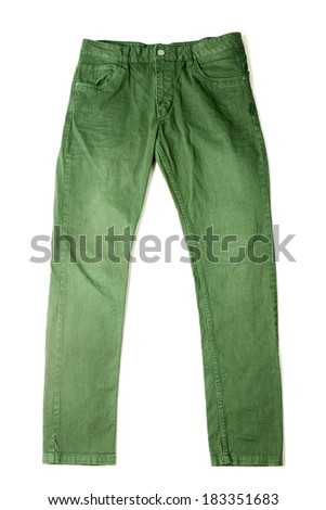 green slim male jeans isolated on white background - stock photo