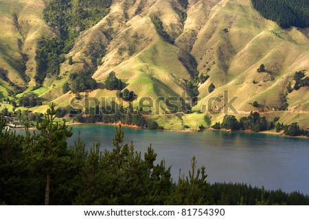 Green slopes of the Marlborough Sounds region of South island of New Zealand - stock photo