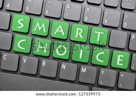 Green smart choice key on keyboard - stock photo