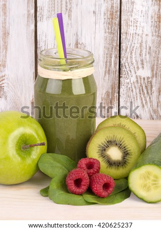 Green smoothie in a jar - stock photo