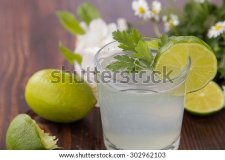 Green smoothie with apple, celery and lime  - stock photo