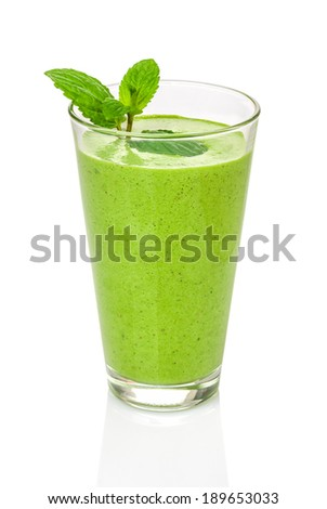 Green smoothie with mint - stock photo