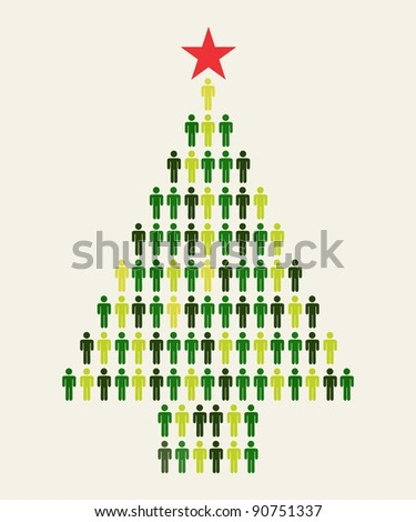 Green Social media business people connection in Christmas tree shape - stock photo