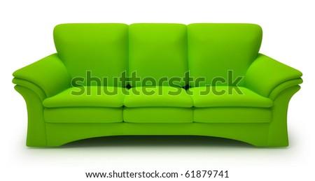 Green sofa isolated on white background - stock photo