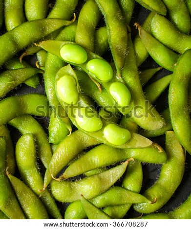 Green soybeans background - stock photo