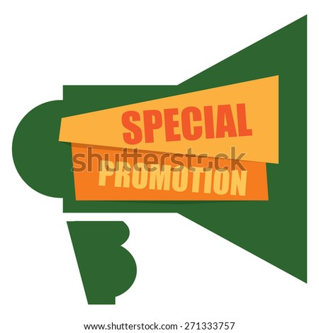 Green Special Promotion Megaphone Banner, Sign, Label or Icon Isolated on White Background - stock photo