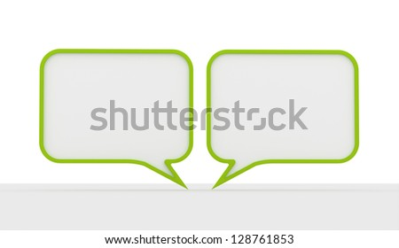 Green speech bubbles dialog on white background - stock photo
