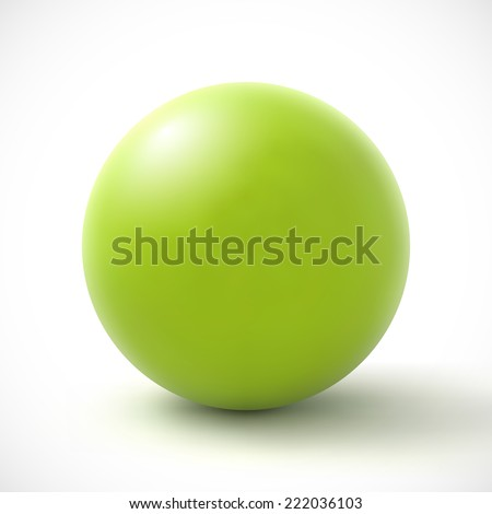Green sphere on white background. - stock photo