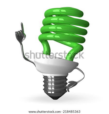 Green spiral light bulb character in moment of insight, 3d render isolated on white - stock photo