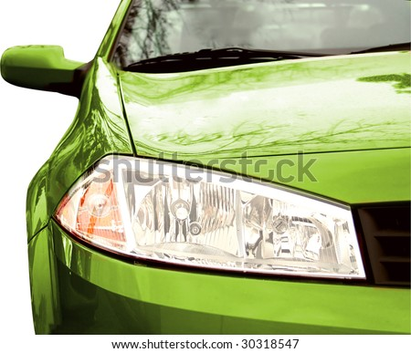 Green Sport Car - Front side, half. Isolated. - stock photo