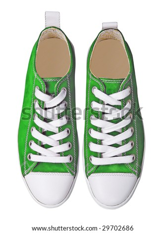 green sport shoes - stock photo