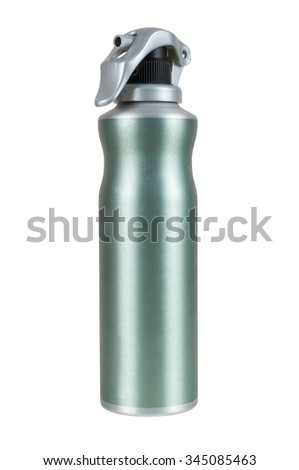 Green spray can isolated on white background with clipping path - stock photo