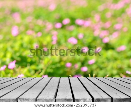 Green spring grass lawn background and empty wooden platform  - stock photo