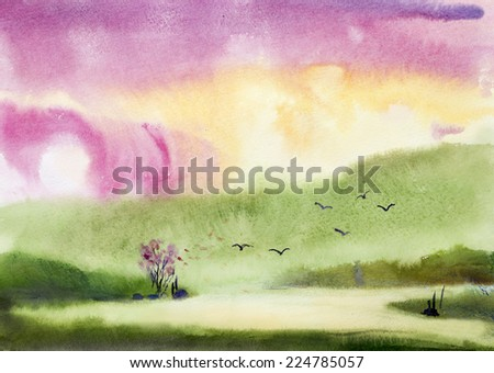 Green Spring in the mountains - stock photo