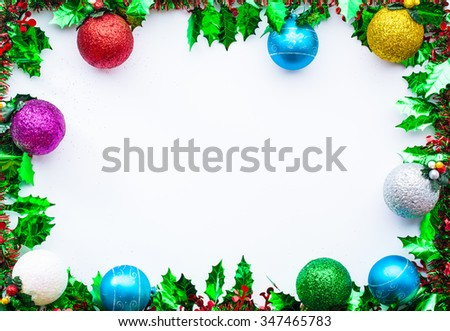 Green spruce, Christmas frame, Picture frame for text Merry Christmas and Happy New year. - stock photo
