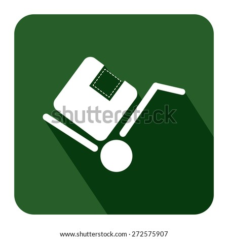Green Square Delivery or Shipping Long Shadow Style Icon, Label, Sticker, Sign or Banner Isolated on White Background - stock photo