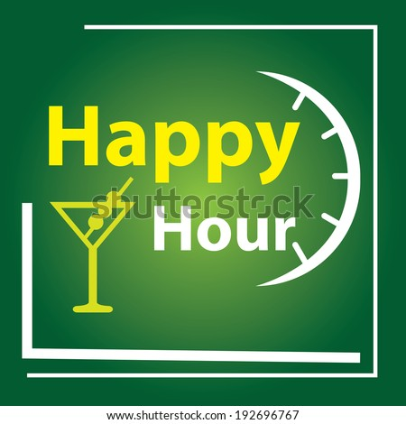 Green Square Happy Hour Label, Poster or Sign Isolated on White Background - stock photo