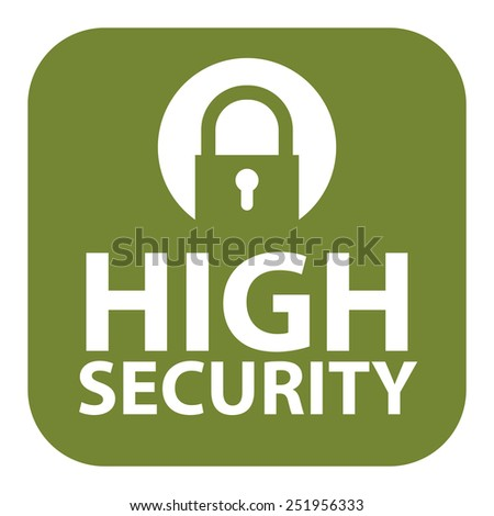 Green Square High Security Icon, Sign, Sticker or Label Isolated on White Background  - stock photo