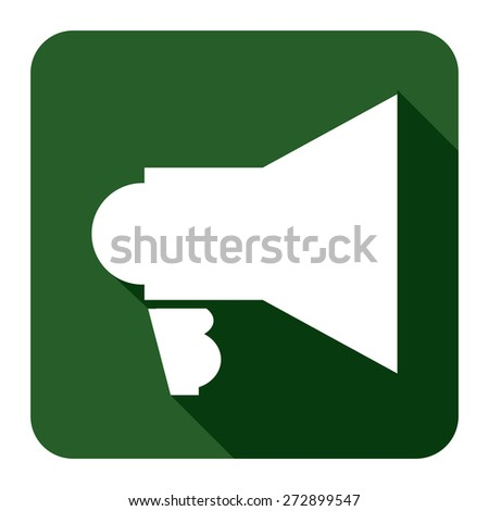 Green Square Megaphone Long Shadow Style Icon, Label, Sticker, Sign or Banner Isolated on White Background - stock photo