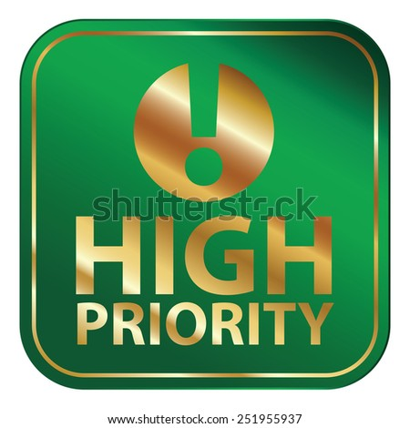 Green Square Metallic High Priority Icon, Sign, Sticker or Label Isolated on White Background  - stock photo