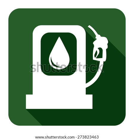 Green Square Petrol Station or Filling Station Long Shadow Style Icon, Label, Sticker, Sign or Banner Isolated on White Background - stock photo
