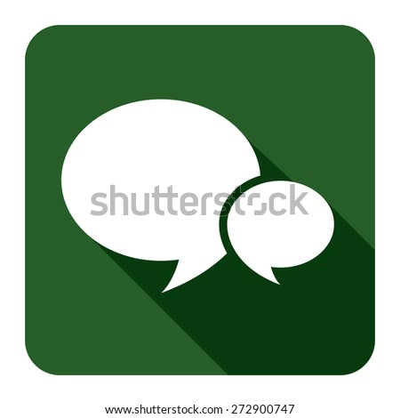 Green Square Speech Bubble Long Shadow Style Icon, Label, Sticker, Sign or Banner Isolated on White Background - stock photo