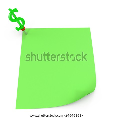 Green square sticky note, with a green sign dollar pin, isolated on white background and with shadow - stock photo
