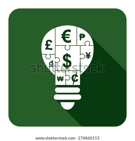 Green Square Various Currency Sign Puzzle in Light Bulb Flat Long Shadow Style Icon, Label, Sticker, Sign or Banner Isolated on White Background - stock photo