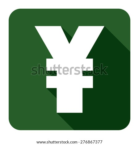 Green Square Yuan, Yen Currency Flat Long Shadow Style Icon, Label, Sticker, Sign or Banner Isolated on White Background - stock photo