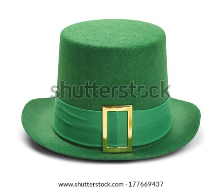Green St. Patrick's Day Felt Top Hat With Gold Buckle Isolated on White Background. - stock photo