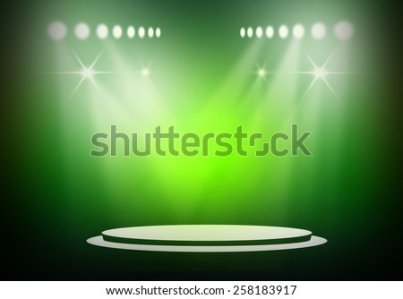 Green stage light background  - stock photo