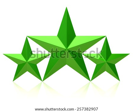 Green stars of the winners on white background - stock photo