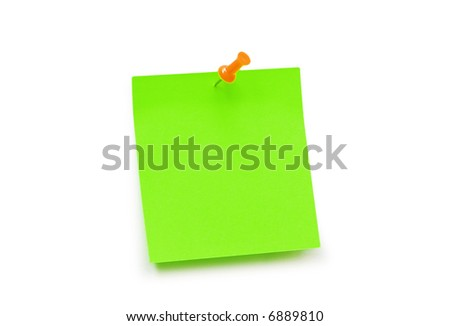 Green sticker note isolated  on the white - more similar photos in my portfolio - stock photo