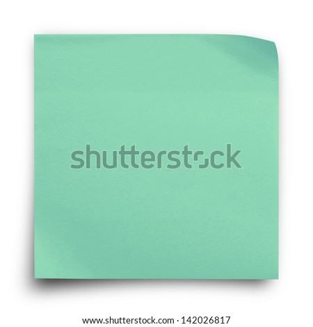 Green sticker paper note on white background - stock photo