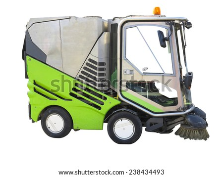 Green street sweeper machine isolated over white background - stock photo