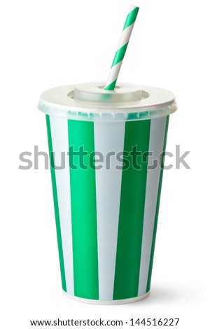 Green striped cardboard cup with a straw. Isolated on a white. - stock photo