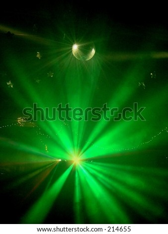 Green Strobe  Lights on Mirror Ball at Party - stock photo