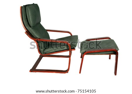 green suede leather chair and foot stool isolated on white with room for your text - stock photo