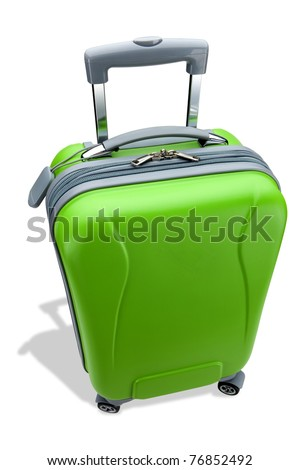 Green suitcase - stock photo