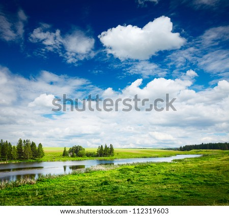 Green summer meadow and pond with blue cloudy sky - stock photo