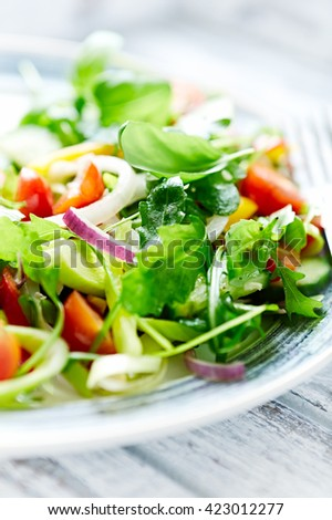 Green Summer Salad with Cherry Tomatoes - stock photo