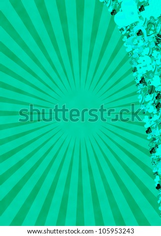 Green sun rays and hearts for a retro abstract background - stock photo