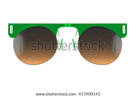Green sunglasses isolated on white background. With clipping path. 3D render - stock photo