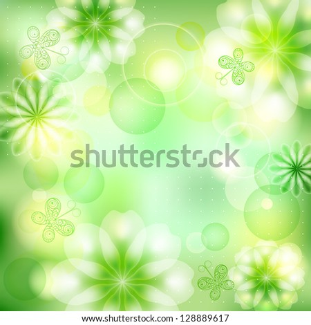 Green sunny background with flowers and butterflies, summer card. Raster copy of vector image - stock photo