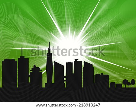 Green Sunrise over the city - stock photo