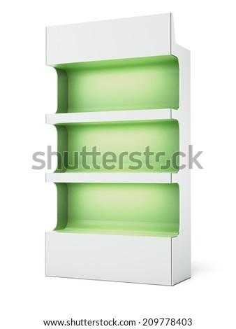 Green supermarket shelves - stock photo